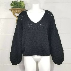 Pink Lily BLACK Chunky Knit V-Neck Sweater Puff Sleeves M